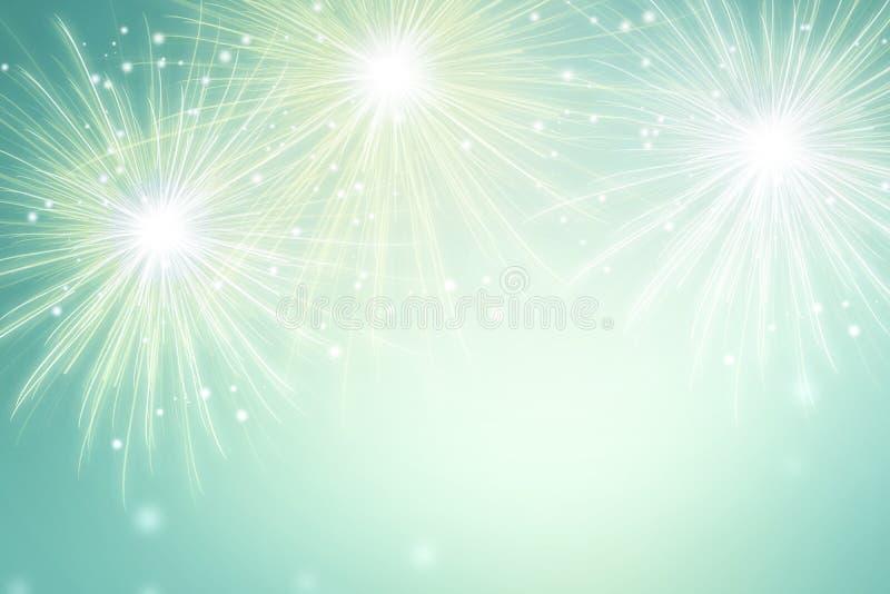 在绿色背景的抽象烟花 庆祝节日墙纸 皇族释放例证
