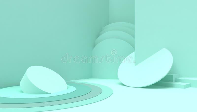 在绿色背景的指挥台圈子几何构成形状最小和现代概念艺术淡色绿色墙壁场面 皇族释放例证