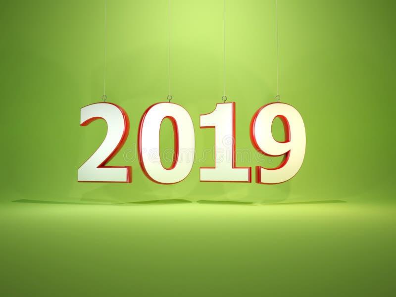 2019在绿色背景的新年标志 库存例证