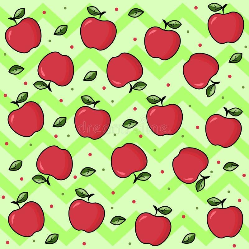 在绿色背景的果子印刷品与波浪 明亮的果子:苹果 与叶子的成熟红色苹果 传染媒介您的样式背景 库存例证