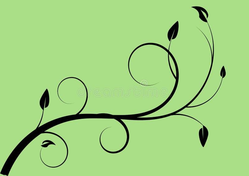 在绿色背景的漩涡花卉设计 库存例证