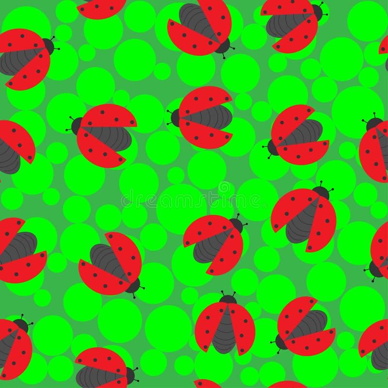 在绿色背景的瓢虫 皇族释放例证