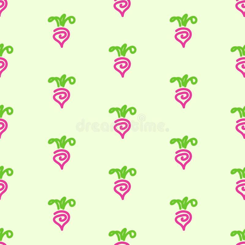 在绿色背景的甜菜无缝的样式 免版税库存图片