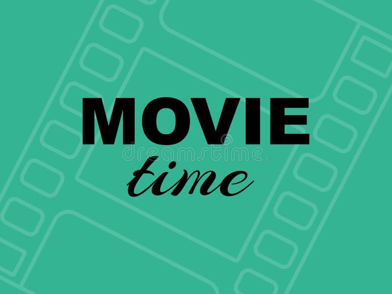 在绿色背景的电影时间时间卡与filmstrip 库存例证