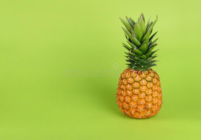 在绿色背景的菠萝 库存图片