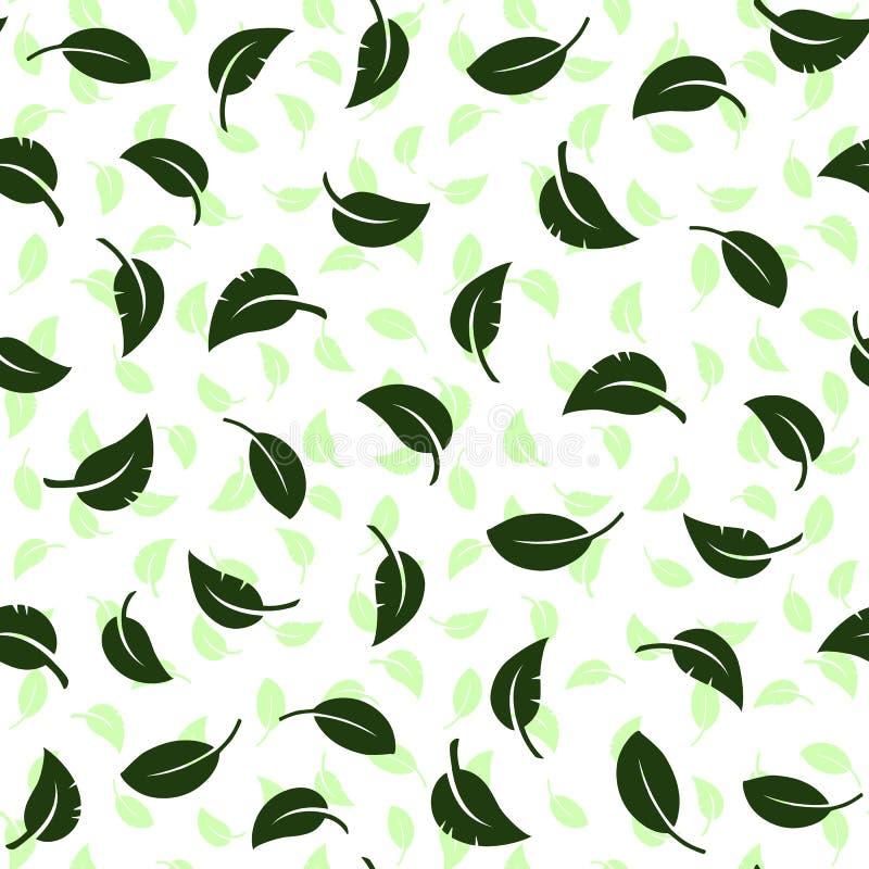 在绿色背景的落的叶子 无缝的模式 向量例证