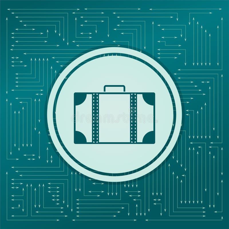 在绿色背景的行李象,与箭头用不同的方向 它出现在电子委员会 向量例证