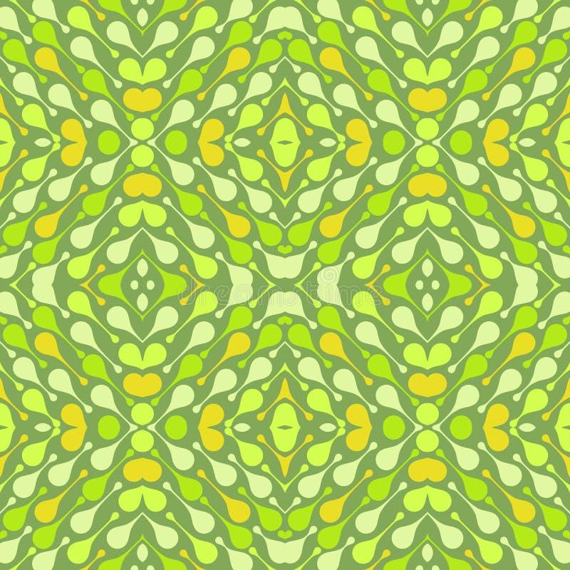 在绿色背景的轻的下落 明亮的纺织品、印刷品,墙纸的等摘要传染媒介无缝的样式 皇族释放例证