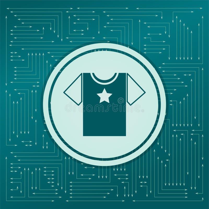 在绿色背景的T恤杉象,与箭头用不同的方向 看起来电子委员会 向量例证