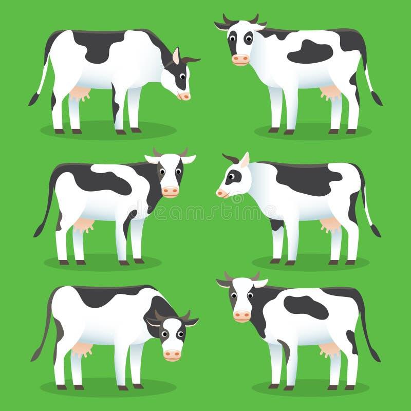 在绿色背景隔绝的牲口母牛 设置在平的样式的白色和黑母牛,商标和网络设计的 ?? 库存例证