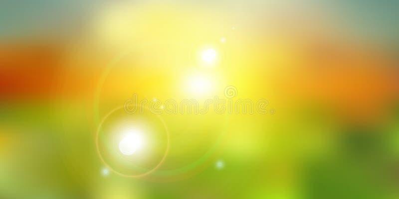 在绿色自然被弄脏的背景的夏天阳光 皇族释放例证