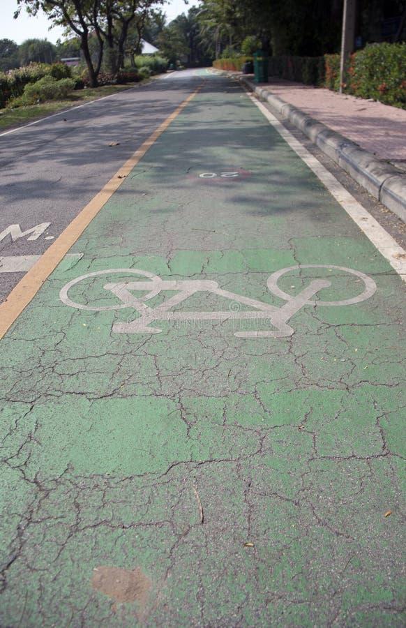 在绿色自行车车道的白色自行车绘画 它是路的分裂标记用被绘的线 免版税库存图片