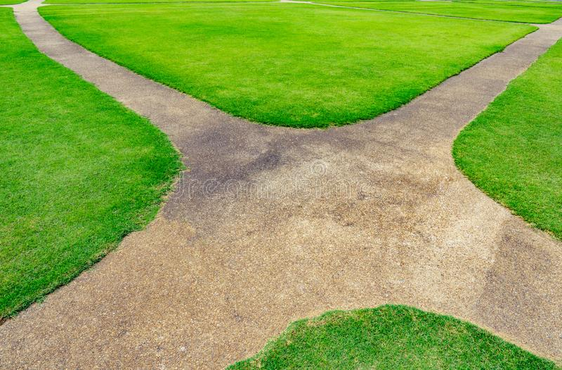 在绿色草坪纹理背景的路 免版税库存照片