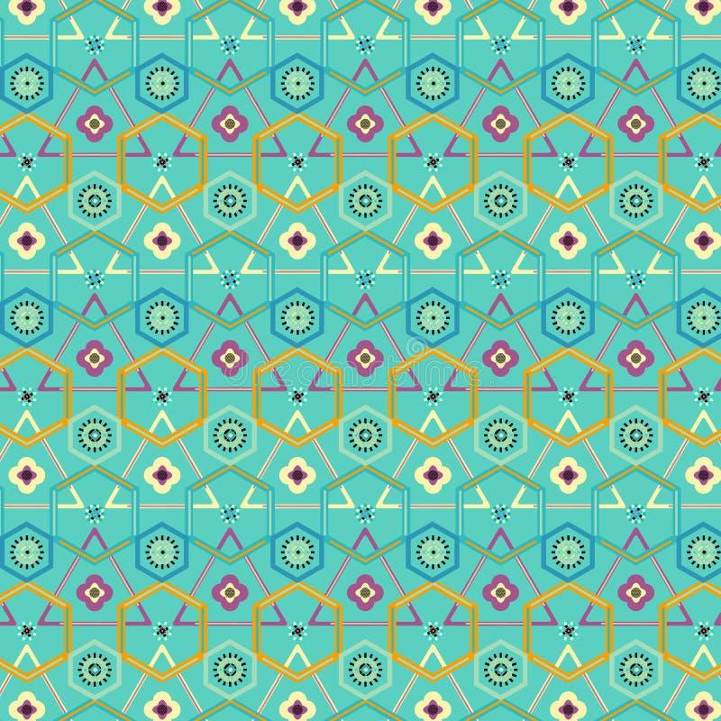 在绿色薄荷的背景的五颜六色的现代几何重复的样式 向量例证