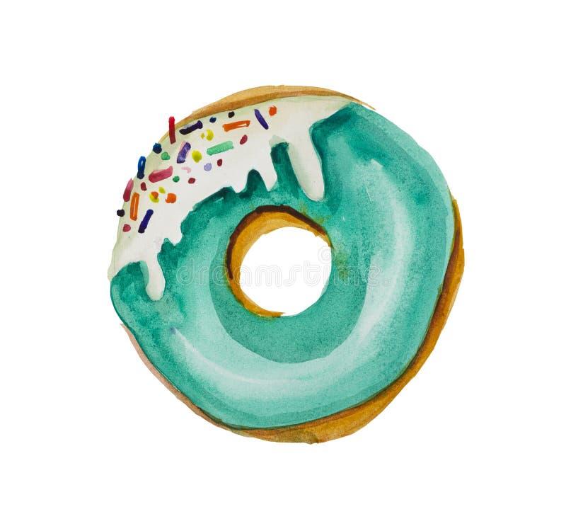 在绿色鲜绿色釉的水彩多福饼与从甜芯片和方旦糖的口音 库存例证