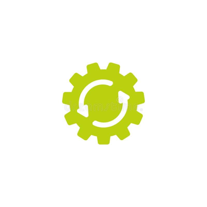 在绿色齿轮的两个白色圆的箭头 在白色隔绝的象 工作流概念象 皇族释放例证