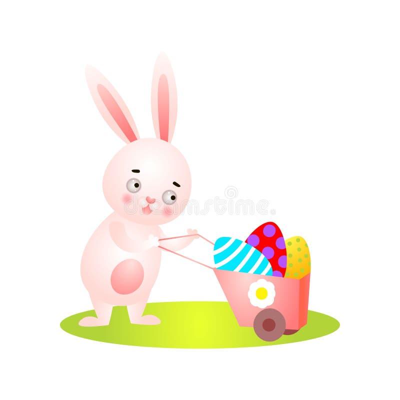 在绿草充分的独轮车的逗人喜爱的复活节兔子 向量例证