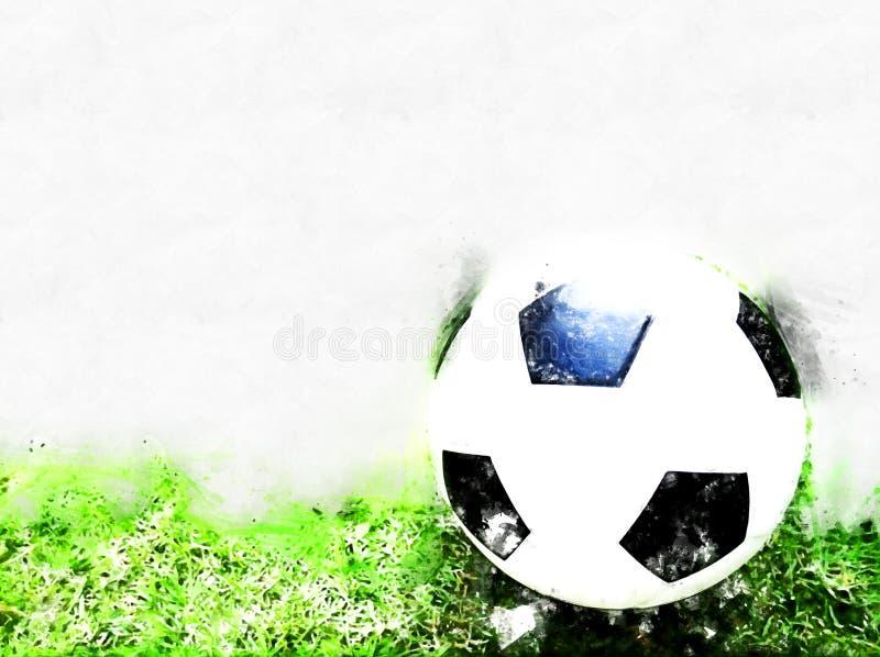 在绿草水彩绘的背景的抽象橄榄球球 库存例证