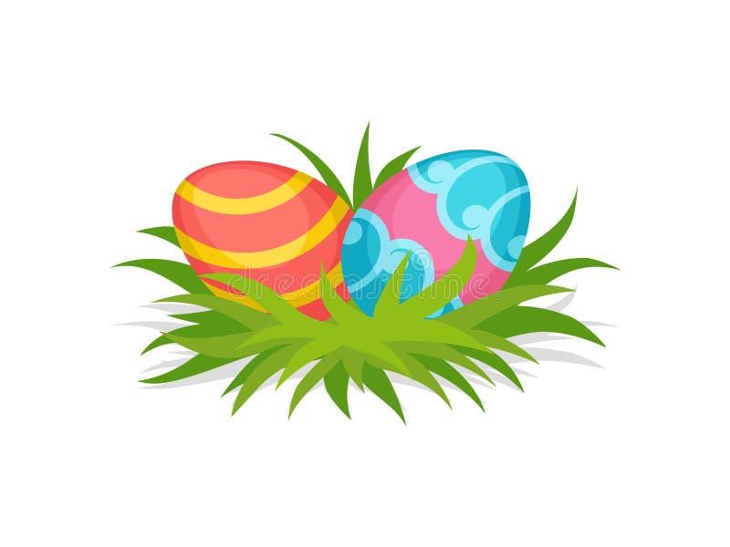 在绿草的两个被绘的鸡蛋 愉快的复活节 逗人喜爱的假日构成 防御cesky遗产krumlov季节春天查看世界 平的传染媒介象 皇族释放例证