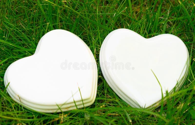 在绿草的两白色光滑的瓷心脏;夏天 喜帖;爱笔记 免版税库存图片