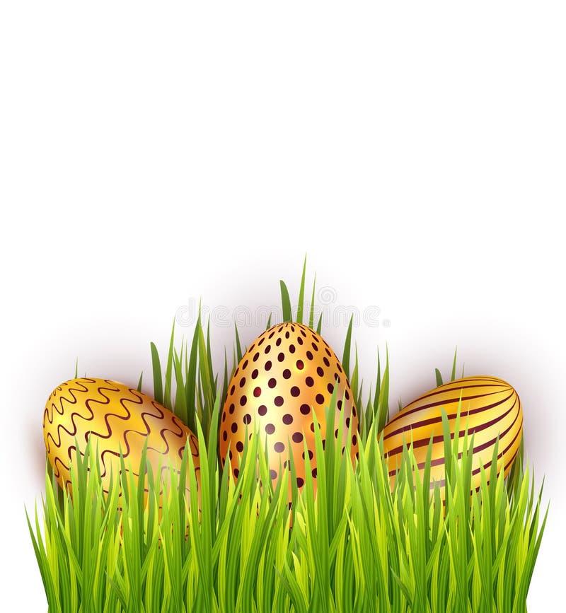 在绿草的复活节金黄鸡蛋 传染媒介设计的装饰元素 库存例证