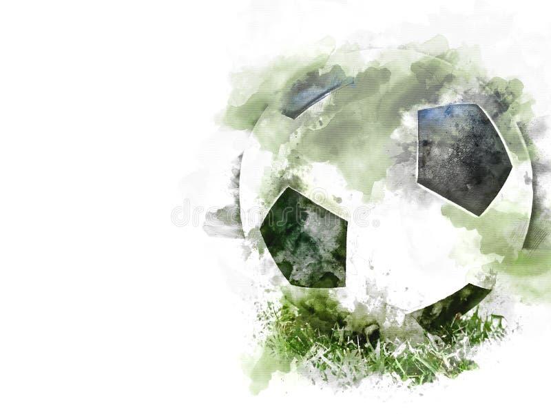 在绿草的抽象五颜六色的橄榄球在水彩例证 库存图片