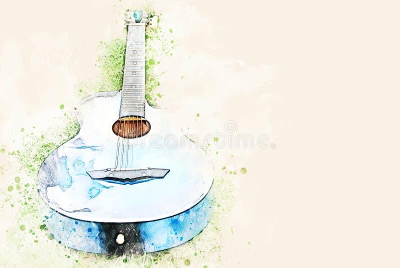 在绿草的抽象声学吉他在水彩例证绘画 图库摄影