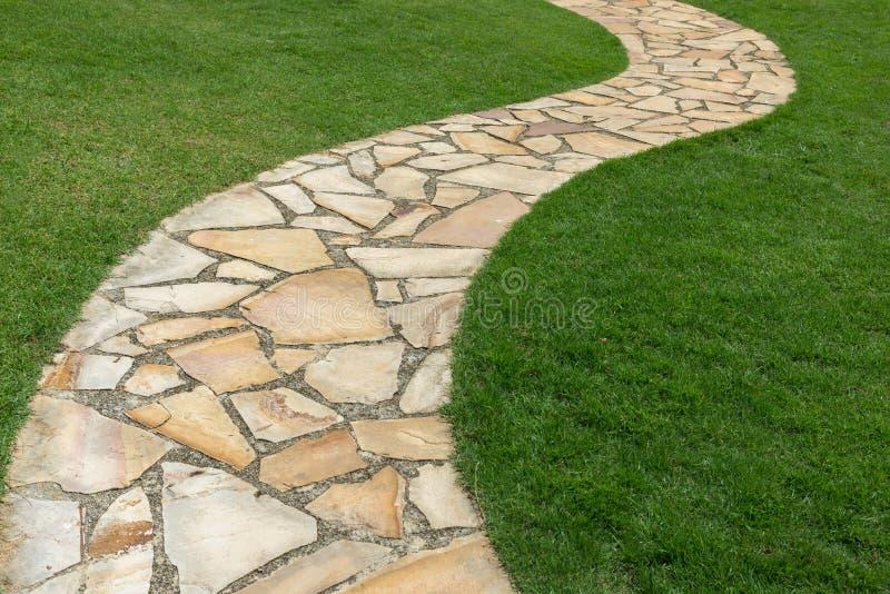 在绿草的石道路在庭院里 免版税库存图片
