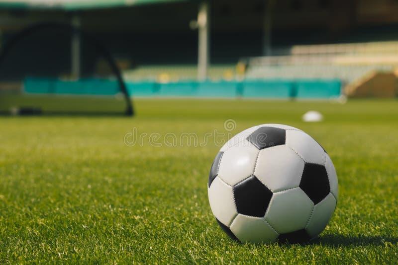 在绿草的足球有体育场背景 橄榄球足球训练器材 免版税库存照片