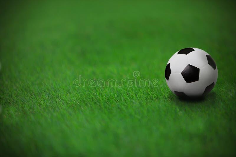 在绿草的足球橄榄球在体育场内 库存图片