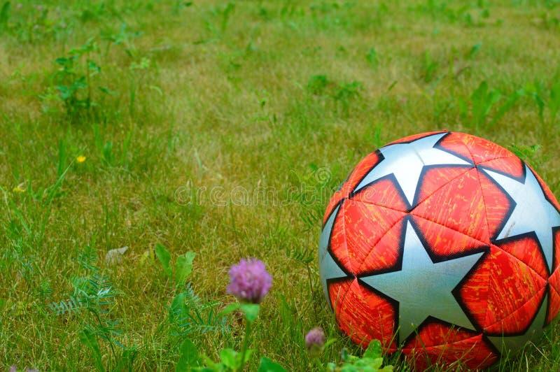 在绿草的足球 免版税库存照片