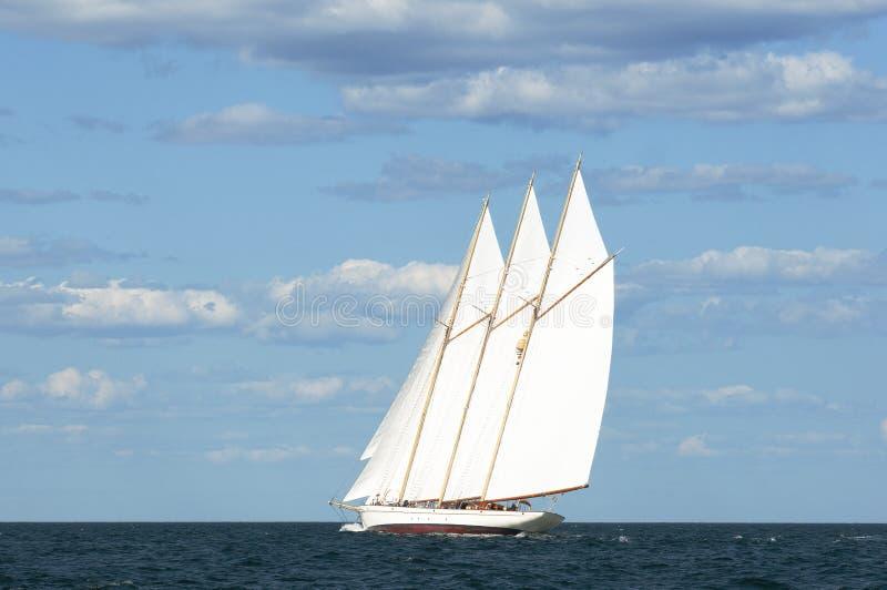 在缅因Seac的地道三被上船桅的大篷车Windjammer航行 免版税库存照片