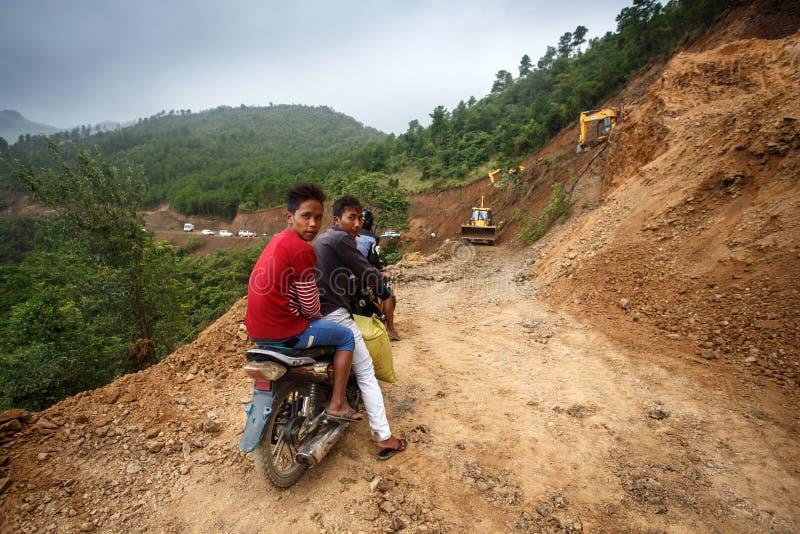 在缅甸的道路工程 库存照片