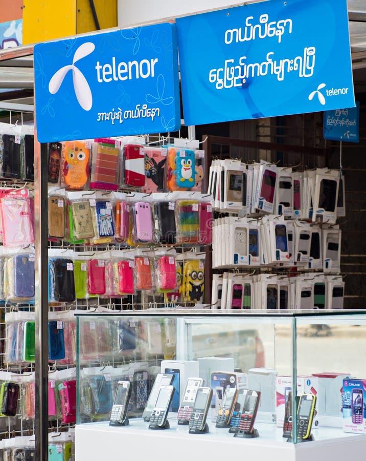 在缅甸的更加便宜的电话 免版税图库摄影