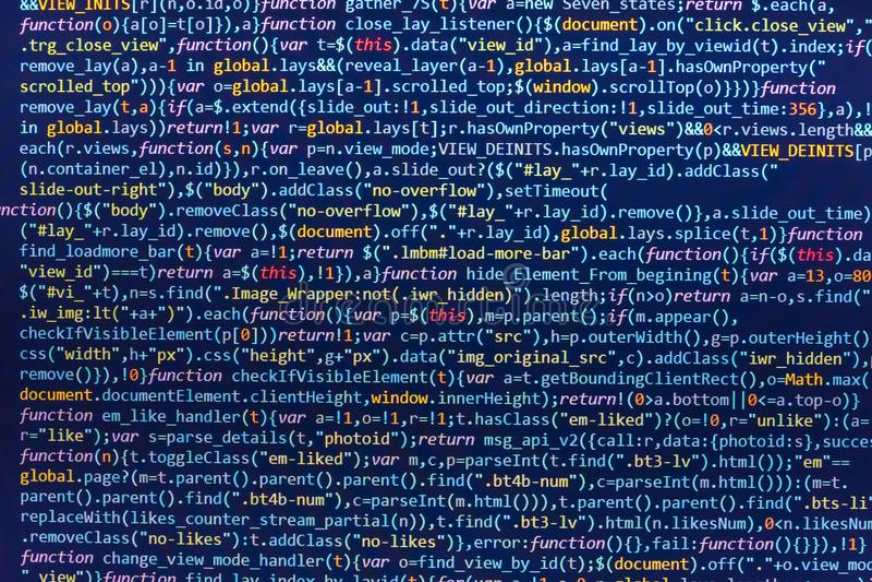 在编辑的HTML5网站发展的 编制程序网际空间概念 网站设计 网站编程的代码 库存例证