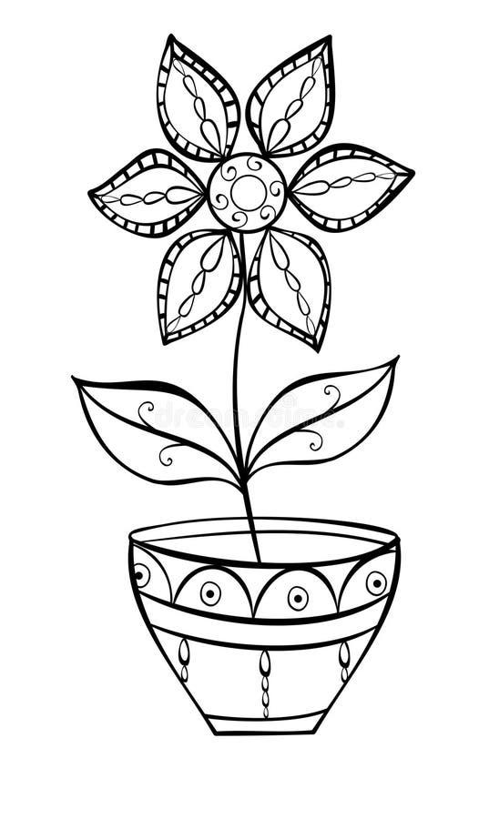 在罐乱画的花 向量例证