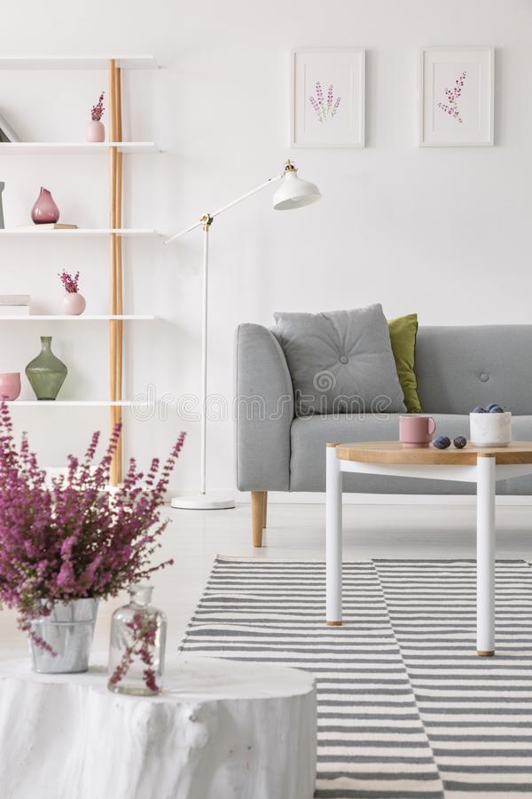 在罐的加热器在小木桌上在有灰色长沙发和白色灯的典雅的斯堪的纳维亚客厅 库存图片