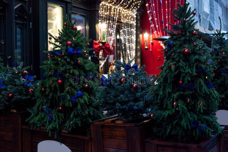 在罐的装饰的圣诞树在夜街道上的房子附近 免版税库存图片