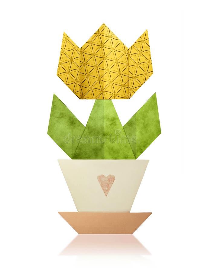 在罐的Origami郁金香 库存照片