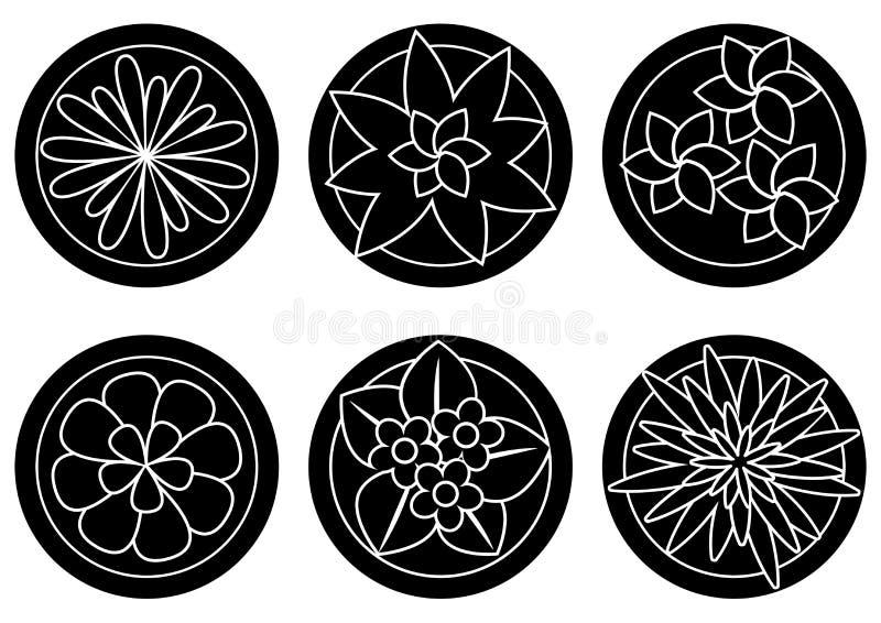 在罐顶视图的室内植物,室内花 ?? 向量例证