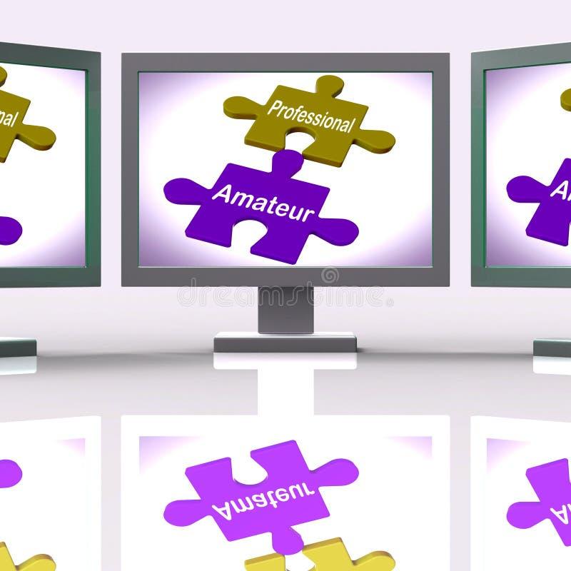 在网上专业非职业难题显示专家和学徒 库存例证