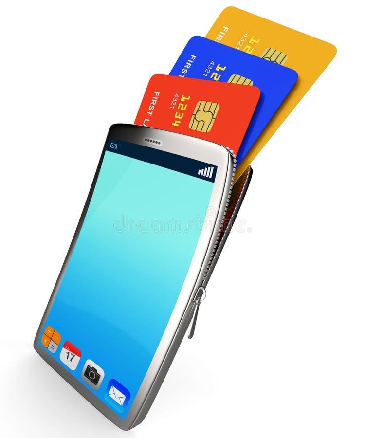 在网上信用卡代表全球资讯网并且买了 皇族释放例证