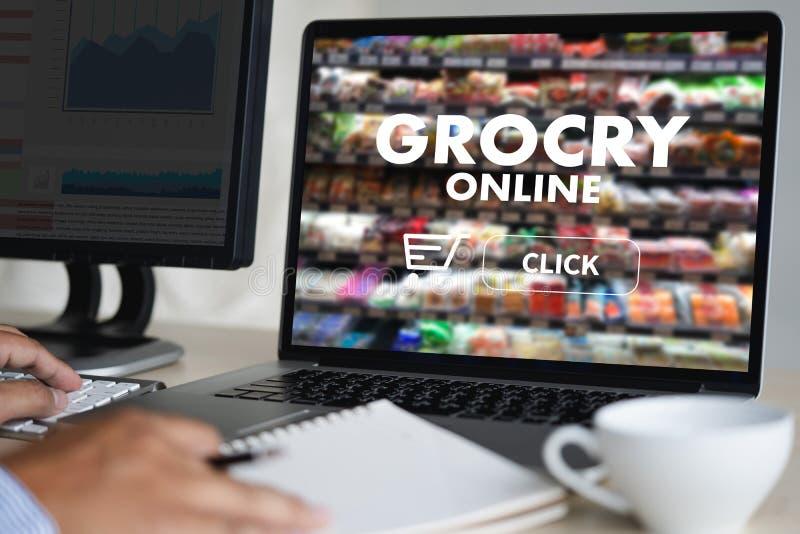 在网上关闭妇女预定的食物由互联网概念顺序 库存图片