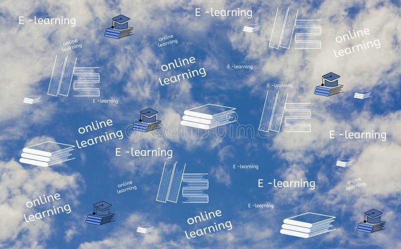 在网上发现和电子教学,与书和帽子象,背景是天空,在网上和互联网识字教育的概念自由 皇族释放例证