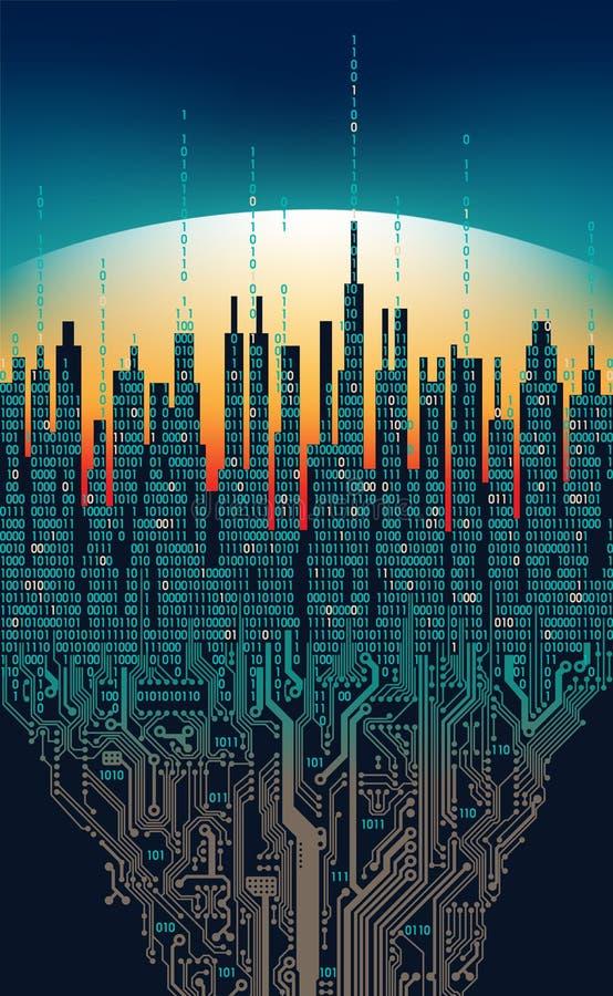 在网上城市 抽象未来派数字式城市,高科技信息概念 皇族释放例证