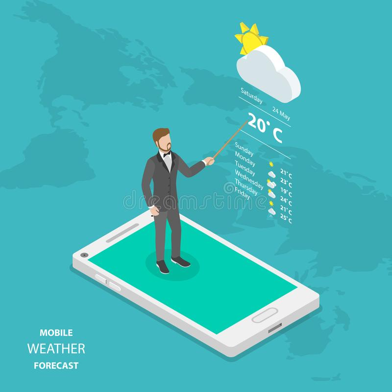 在网上天气预报平的等量传染媒介 库存例证