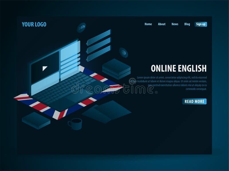 在网上学会英语 教育概念,网上训练,专业化,大学学习 等量传染媒介例证 库存例证