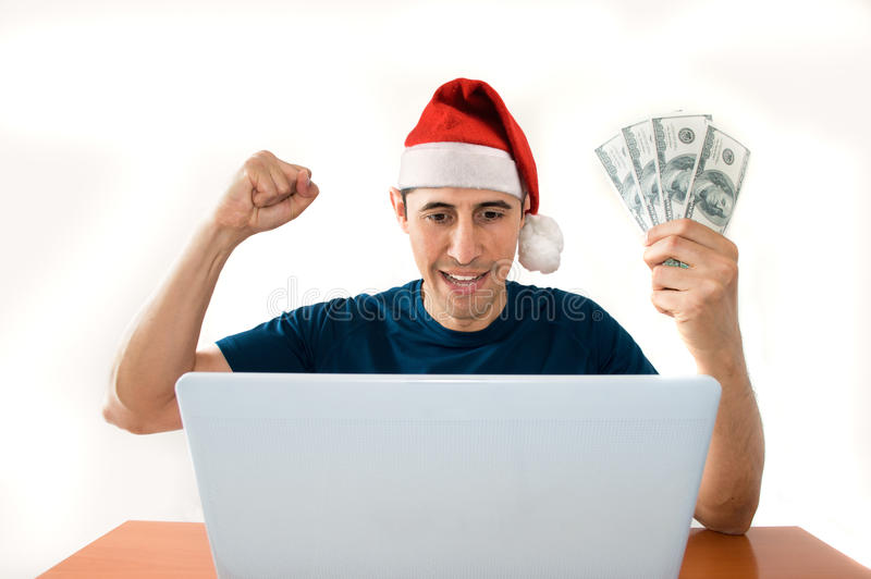 在网上打赌在圣诞节 库存图片