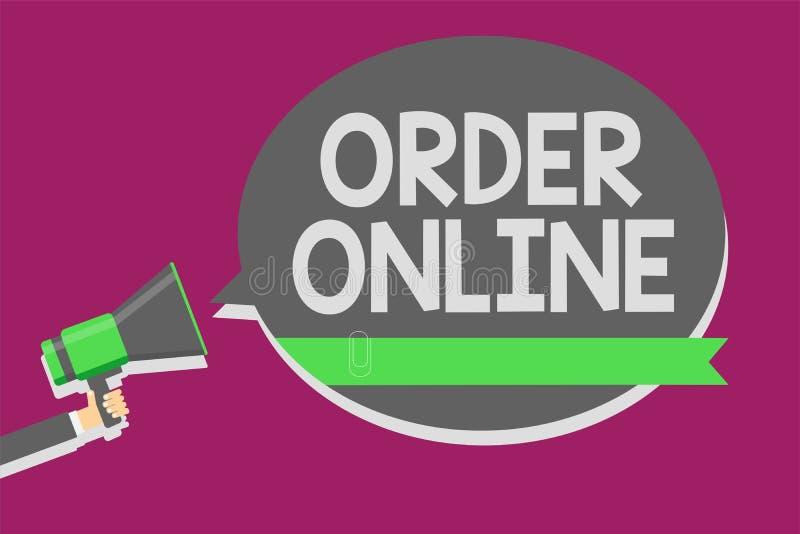 在网上显示命令的文字笔记 企业照片陈列的买的商品和服务从卖主在互联网人举行 皇族释放例证