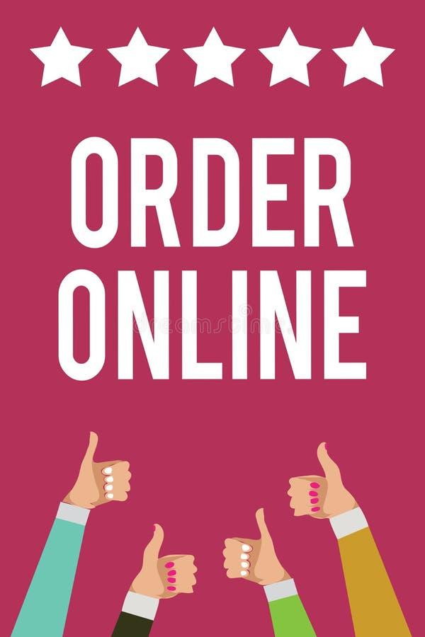 在网上显示命令的文字笔记 企业照片陈列的买的商品和服务从卖主在互联网人wome 皇族释放例证